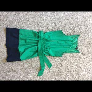 Green and blue halter dress